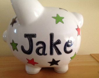 Personalized Large Stars Piggy Bank - Ring Bearer Newborn, Baby Shower Gift Centerpieces