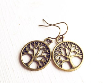 Tree of Life Earrings / Tree Lover Gift Mothers Day Gifts Under 10 Bridesmaids Wedding Shower Bridal Party Favors Bronze Dangly Summer Style