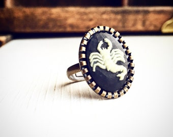 Zodiac Cameo Ring Scorpio / Adjustable Steampunk Victorian Astrological Sign Astrology Ring