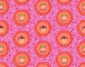 WeeWander Glow Friends in Pink 1 yard - Sarah Jane's Wee Wander by Michael Miller Fabrics