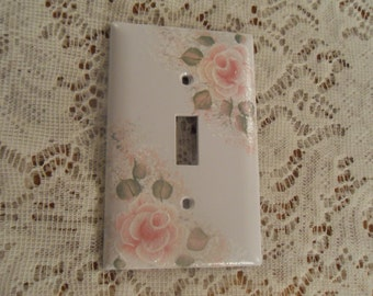 Shabby Cottage Chic Hand Painted Pale Rose Single Light Switch Cover