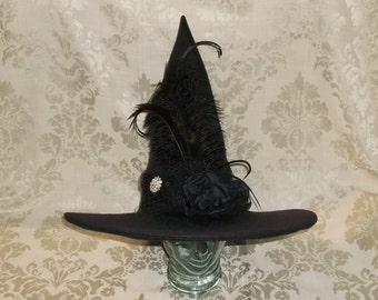 Fancy Black Witch Hat- Black Felt Hat with Black Flower, Rhinestone Brooch and Feathers