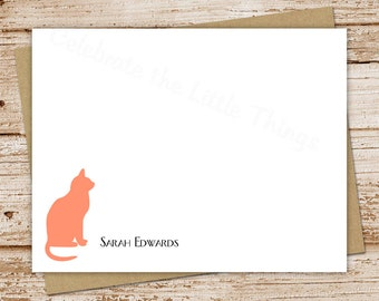 personalized stationery set . cat note cards . cat notecards . cat silhouette . personalized stationery . flat stationary . set of 10