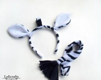 Zebra Costume Set, Ears and Tail
