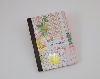 Mini Notebook Lovely Smile Design Up-cycled Decorated Mini Composition Notebook