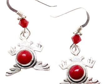 red coral sterling silver frog earrings