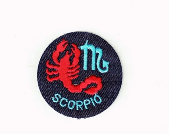 SCORPIO Zodiac Astrology Horoscope Vintage 70's Sewing Patch Applique