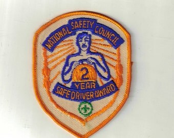 National Safety Council 2 Year Safe Driver Award Vintage 1970's Sewing Patch