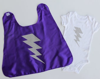Baby Halloween Costume - Ships Fast - Baby or Toddler Bolt SUPERHERO CAPE + Lightning Bolt ONESIE - Sizes newborn to 24 months - Photo prop