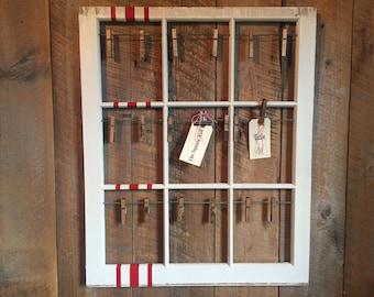 Old Red Grain Sack Stripe Window Frame