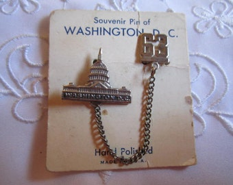 Vintage Washington, D.C., Souvenier of the Capital Building and the Year 1963 Pin
