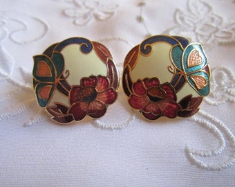 Vintage Gold Tone Cloisenne Pierced Earrings with Flowers and Butterflies