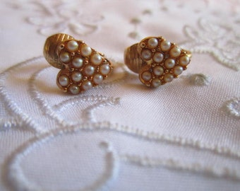 Vintage Gold Tone Heart Shaped Clip On Earrings with Tiny Faux Pearls