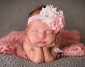 Pink Indulgence - white and light pink rosette and chiffon flower headband