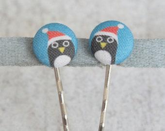 Santa Penguins Fabric Covered Button Bobby Pin Pair