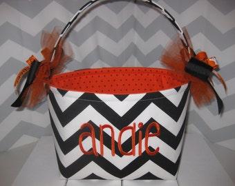 Chervon / Zig Zag Halloween Trick or Treat Fabric Basket / Bucket- Personalization Available