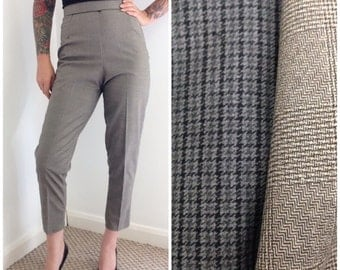 50s vintage style tweed or dogtooth cigarette pants, made to order, hand made