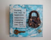 Finding the Key to Happiness 6x6 mixed media