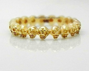 14K Yellow Gold Alternative Wedding Ring, Goth Skull Eternity Ring, Wedding Promise Anniversary Band, Customizable