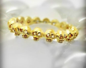 Endless love citronella skull eternity ring, thin gold ring, stackable ring, skull ring, goth wedding ring, promise ring, anniversary ring