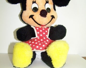 """Vintage Minnie Mouse Disney Plush Doll - Red & White Polka Dot Dress - 16""""- Gift for Kids - 1980's Made in USA - Excellent Vintage Condition"""