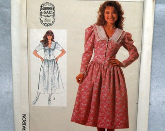 Simplicity Gunne Sax 1980s dress pattern with fitted bodice Misses and Petite size 8