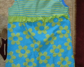 Vintage 70's Child's Cotton Dress in Lime and Blue