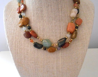 Vintage 1970s Stone Bead Hippie Necklace in Autumn Colors