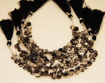 1strand(0001) - natural black rutilated quartz faceted heart 7 by 7mm