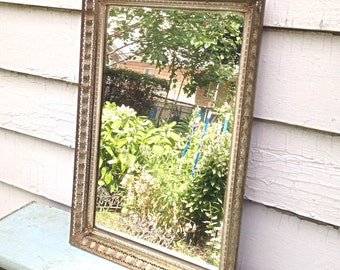 Vintage Filagree Metal Framed Hanging Mirror - Boudoir Vanity Tray - Country Cottage Chic