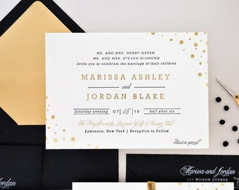 INVITATION SAMPLE The Diamond Suite - Gold Foil and Black Letterpress Wedding Invitation - Heirloom Wedding Invitations by Sincerely, Jackie