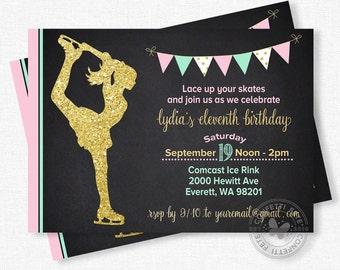 Ice Skating Invitation, Ice Skating Birthday Invitation, Ice Skating Party, Pink and Gold Birthday, Gold Glitter