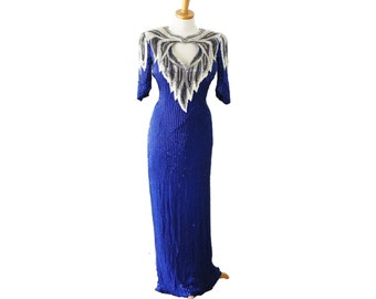 Vintage 80s Full Length Sequin and Beaded Silk Gown Dress - Blue Black White - Women Extra Small, Dita Collection