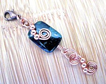 Zipper Pull Purse Charm Cell Phone Charm Kambaba Jasper Copper Beads and Spirals