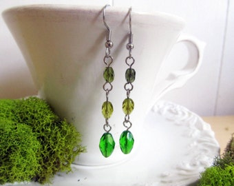 "Greens - Crystal Drop Earrings - 2"" Dangle"
