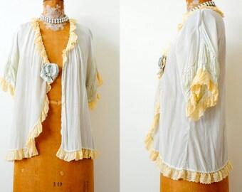 Vintage 1920s Silk petticoat/Top/Pastel blue/Lounge wear/Lace Trim/Ribbon work flower/Shabby blue