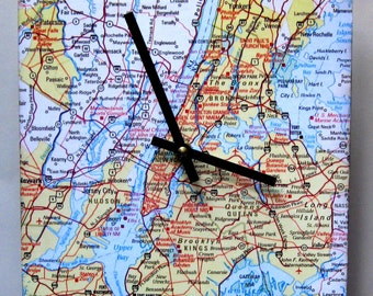 Map clock.  Wall clock.  Map of New York City. Map of Brooklyn, the Queens, Bronx and Long Island.  Eight inch square clock.