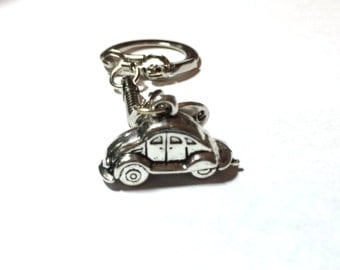 Love Bug Keychain, with Customizable Gem Color VW Beetle