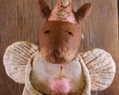 Primitive Birthday Bunny Angel, OOAK, hand-sculpted from papier mache, Birthday Bunny Angel