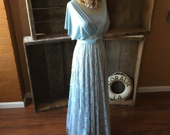 """Ready to Ship~ Standard, 42"""" Length~ Canal Blue with Ice Blue Lace, White Winter, Holiday Dress"""