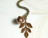 Leaf Necklace with Leaf,Acorn Necklace