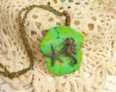 Seahorse and Starfish Pendant,Sea Creatures Necklace,Tropical Jewelry,Seahorse Jewelry,Starfish Jewelry