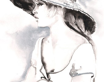 Brigitte Bardot, Bardot Illustration, Original Watercolour Painting, Watercolor portrait,  Girl in Hat, French movie star, Portraiture
