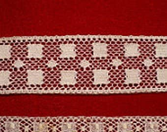 "1"" Georgia's Geometric Insertion Lace, Flemish Victorian White Lace Trim, Vintage Sewing Supply"