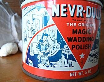 Vintage NEVR-DULL Metal Polish The Original Magic Wadding Polish 5 oz empty Advertising tin red white and blue collectible tin