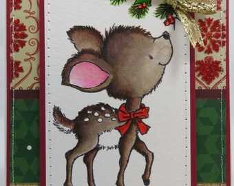 Watercolored Christmas Reindeer - Blank NoteCard, Greetings Card, Handmade Card
