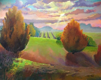 """SALE 50% OFF Original Acrylic Abstract landscape painting- Apple Orchard - 20"""" x 24"""""""