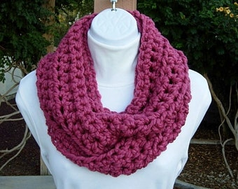 Cowl Scarf Infinity Loop, Raspberry Dark Solid Pink, Soft Wool Blend, Crochet Knit Winter Circle, Thick Neck Warmer..Ready to Ship in 3 Days