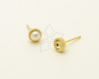 SI-655-GD / 4 Pcs - Tiny Acorn Cap Stud Earrings for Half Drilled Pearls, 16K Gold Plated, with .925 Sterling Silver Post / 5.5mm