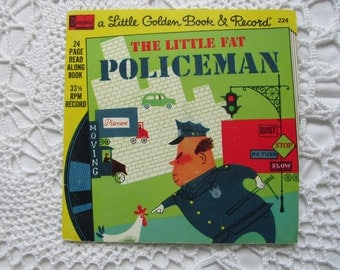 Vintage The Little Fat Policeman Childrens Book and Record Set Golden Press 1960